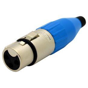 Conector-XLR-femea-linha-Amphenol-AC3FBLU-Capa-azul